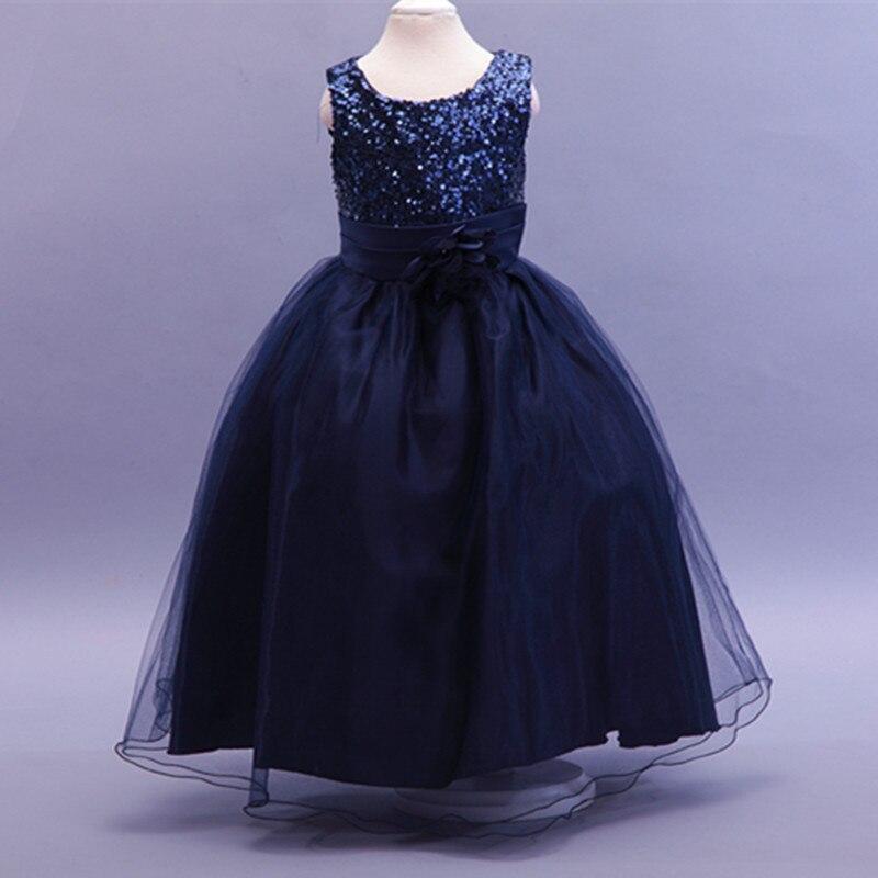 2017 new sale girls christmas dress long flower toddler dresses for weddings party sequin princess back