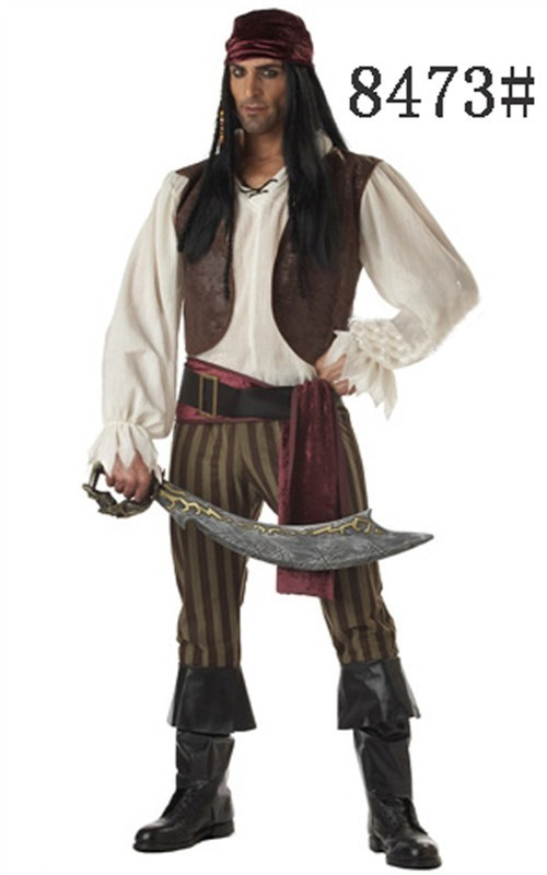 FREE SHIPPING Captain Jack Sparrow Pirates of the Caribbean Halloween Mens Fancy Dress Costume