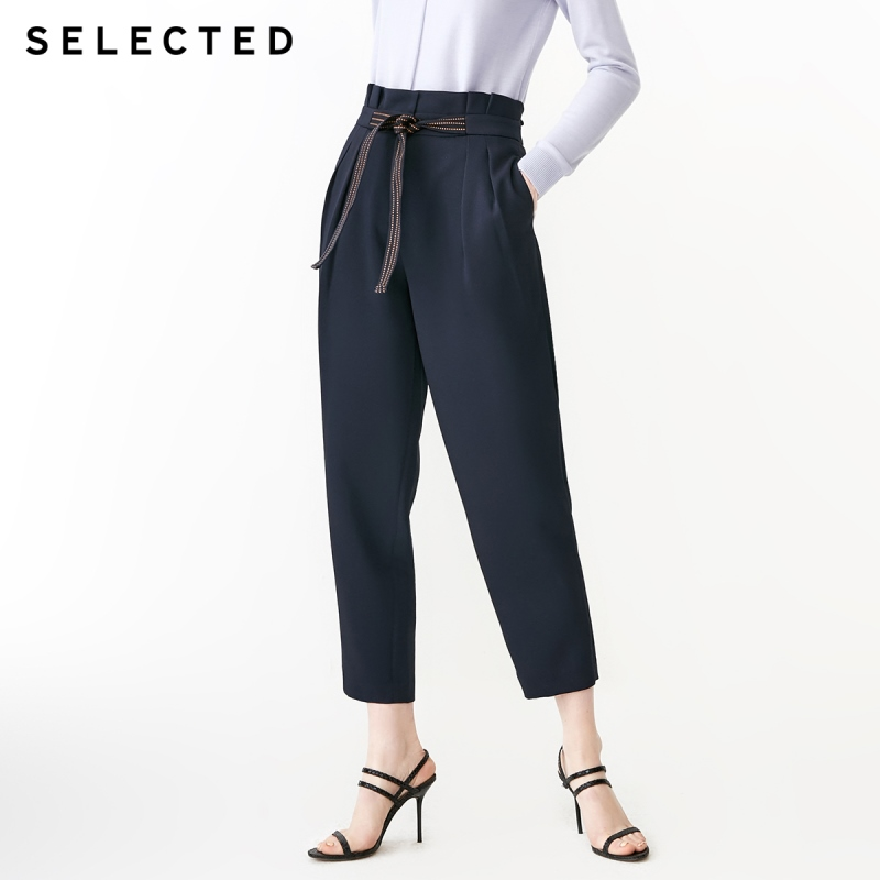SELECTED Women's Spring Lace-up Business-casual Casual Crop Pants S|419114560