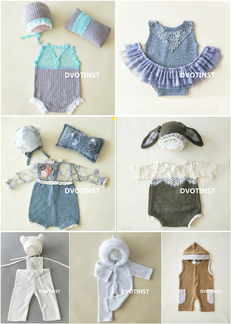 Dvotinst Newborn Photography Props Baby Lace Crochet Knit Outfits Set Clothes Fotografia Accessories Studio Shooting Photo Prop цена