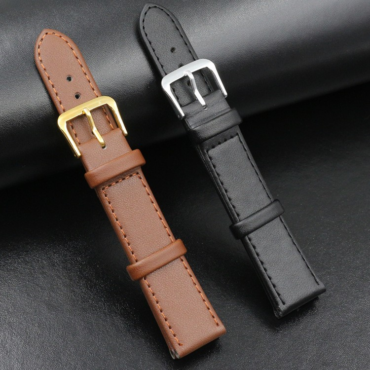 Pin buckle plain leather strap watch band Black Brown 12 14 16 18 19 20 22 24MM strap Suitable