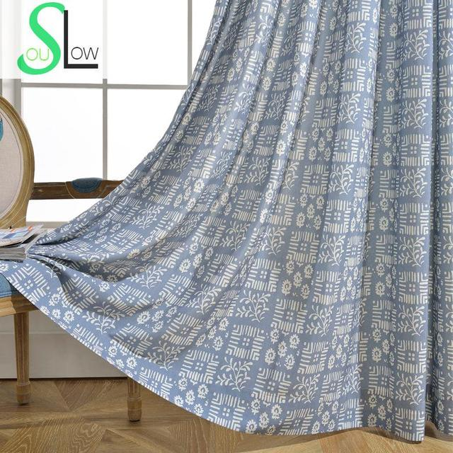 Slow Soul Green Grey Rice Blue Sen Modern Fabric Simple Shading Curtain Plaid Curtains For Living