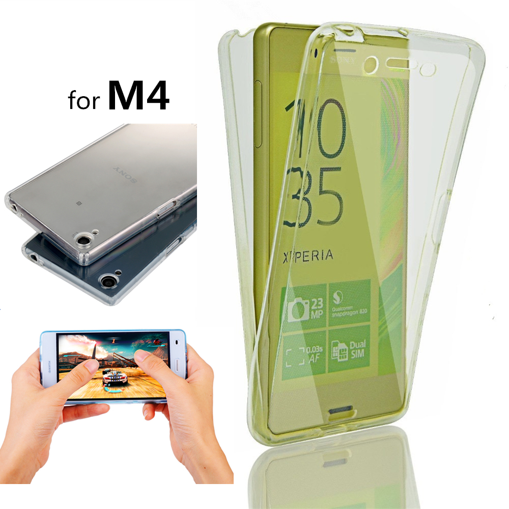 M4 Crystal Touch Full body Transparent Case for Sony Xperia M4 Aqua Cover Soft Silicone Phone bag Cases for Sony Xperia M4Aqua