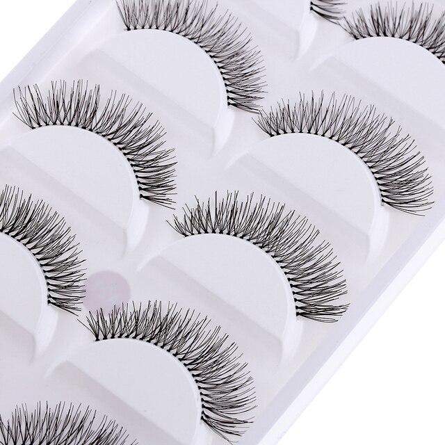 5 pares/set Preto Natural Longo Escassa Cruz Ferramentas de Beleza Cílios Postiços Eye Lashes Extensão Maquiagem Dos Olhos de longa duração