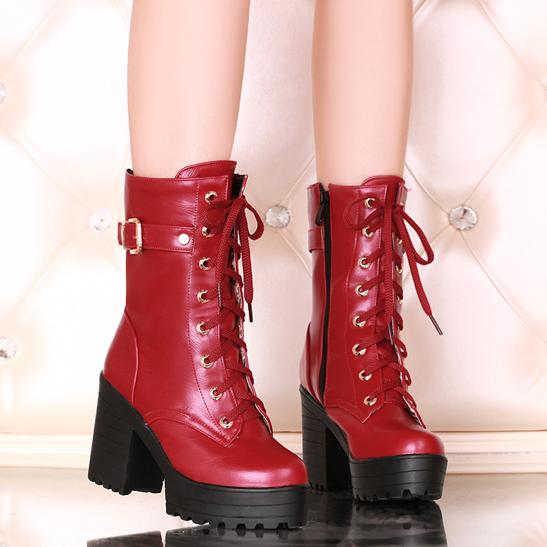 ФОТО plus size 34 to 43 women fashion wine red lace up boot female high quality waterproof casual boot female platform boot lady shoe