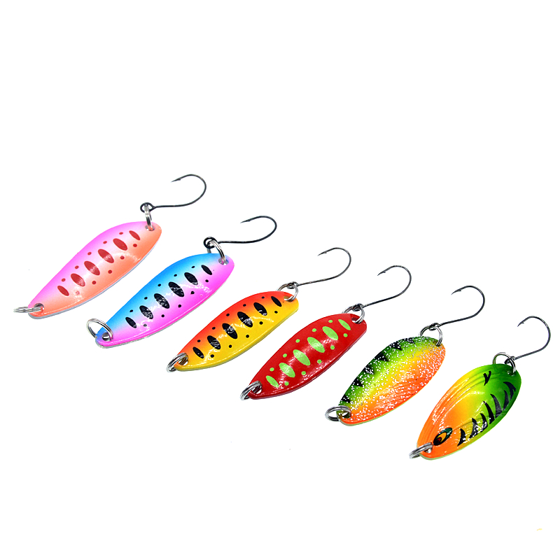 Image 2 - 6pcs/lot 3.5g/4.5g/5g Fishing Tackle Bait Fishing Metal Spoon Lure Bait For Trout Bass Spoons Small Hard Sequins Spinner Spoon-in Fishing Lures from Sports & Entertainment