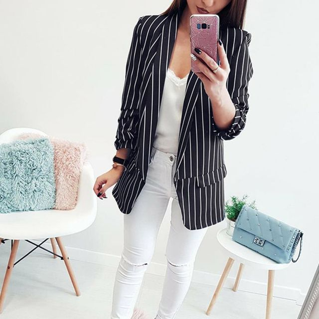Office Lady Formal Jackets Open Front Ladies Blazer Coat Women Autumn Long Sleeve Slim Fit Fashion Casual Blazers