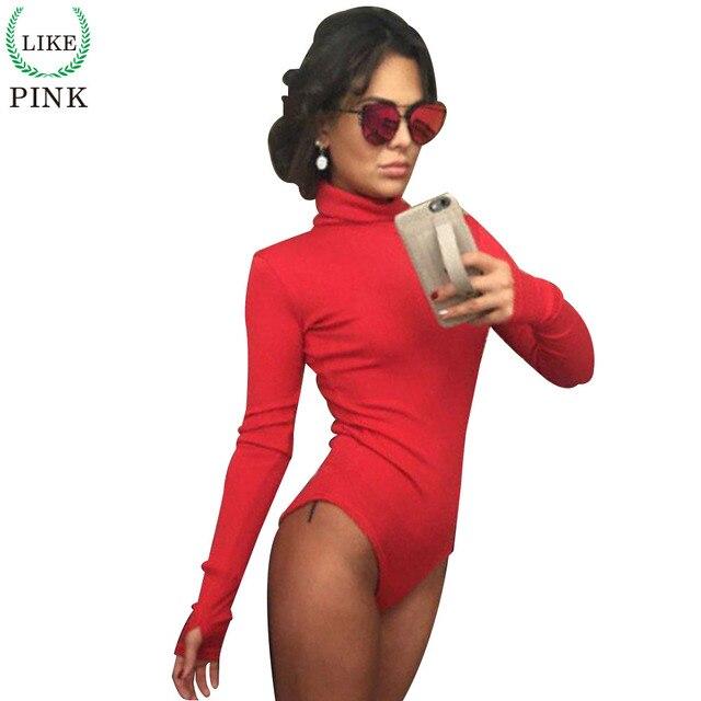 LIKEPINK 2017 Новая Коллекция Весна Топы Женщины Боди С Длинным Рукавом Сельма Сексуальное Тело Feminino с высоким воротником Комбинезон Красный Черный S ~ XL