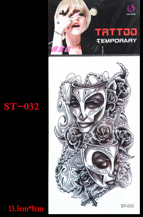 Hottest 3 D Body Art Chest Arm Of Temporary Tattoos Ghost Mask Scar Small Cage Design Tattoo Body Painting Tattoo & Body Art
