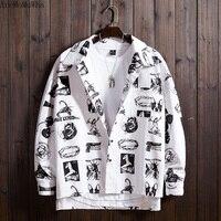 AreMoMuWha Summer Hip Hop Trend Personality Loose Long sleeved Shirt Ins Net Red Men's White Shirt Cardigan Coat Men Shirt QX700