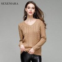 SEXEMARA 2017 New Winter Knitted Sweater Women Pullover Jersey Mujer V Neck Long Sleeve Slim Elegant