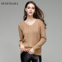 SEXEMARA 2017 New Winter Knitted Sweater Women Pullover Jersey Mujer V Neck Long Sleeve Slim Elegant