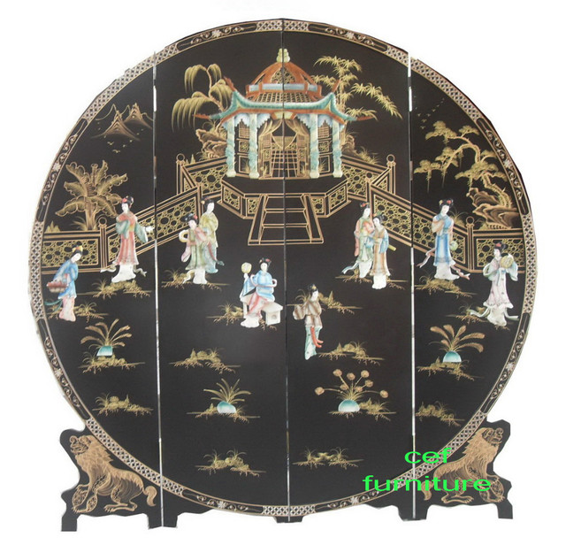 mother of pearl inlay round hand painted screen room divider lacquer
