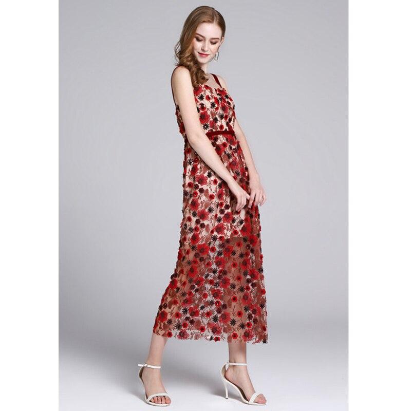 Plage Robe Unique Rouge 2018 Brodé Dos D'été Bandoulière Fleur Longue Robes Nu Femme Sequin Occasionnels Maxi CtwOtFaq