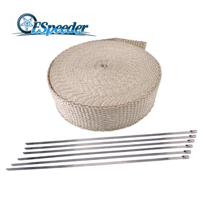 ESPEEDER 2 X 15M Heat Wrap Exhaust Manifold Downpipe Resistant Fireproof Insulating Cloth For Motorcycle Car 6 Ties