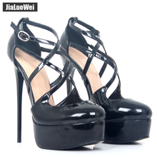 jialuowei 16CM High Thin Heels Black Lady Pumps Sexy Cross tied Women Sandal Brand Extreme Heels Female zapatos de mujer Summer цена и фото
