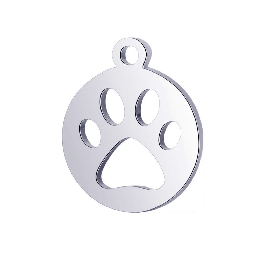 10pcs Fashion Cat Paw Pendants DIY Real Stainless Steel Charms Paw Pendants for Handmade Jewelry Making Findings in Pendants from Jewelry Accessories
