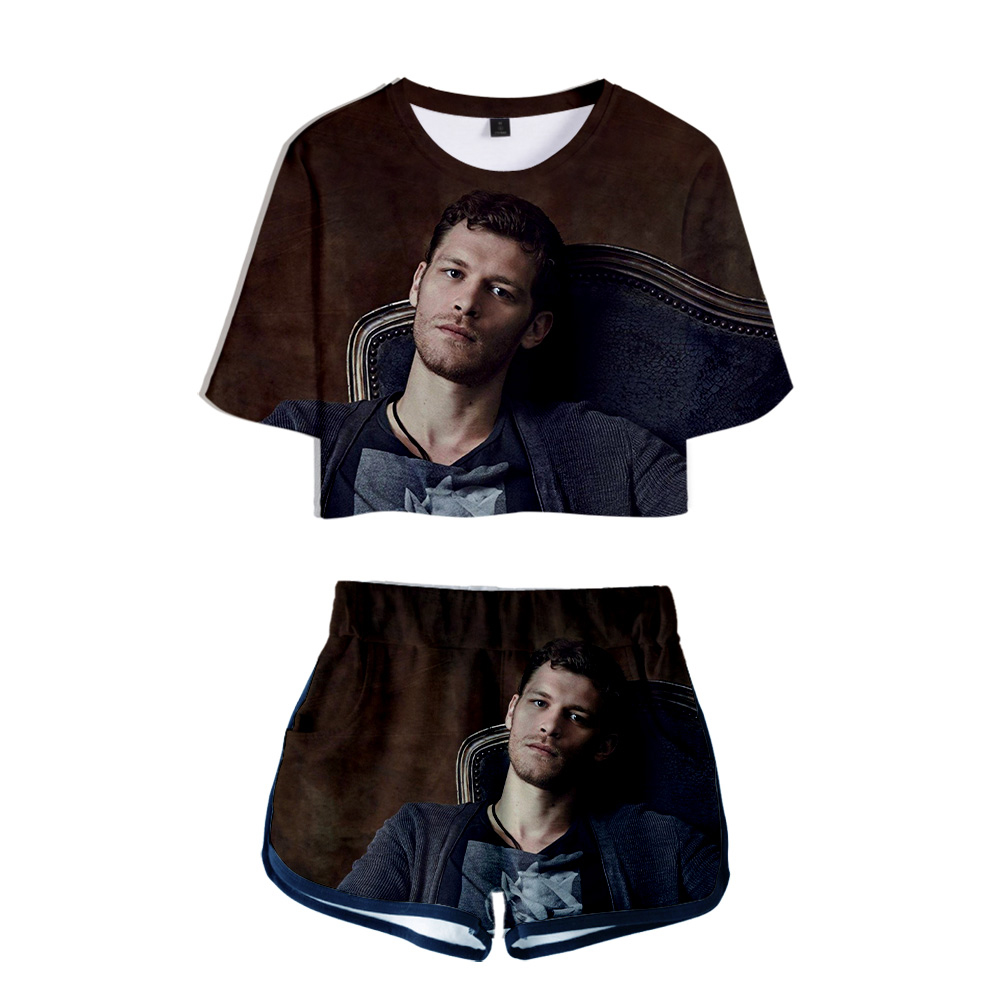 TV series The Vampire Diaries Niklaus Mikaelson Two Pieces sets Women Fashion girl Harajuku T-shirts shorts Clothes