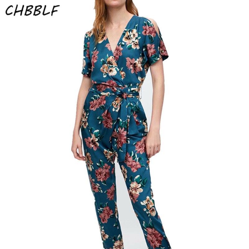 9aeacccd297e Aproms Elegant Striped V Neck Strap Sexy Jumpsuit Women Rompers Flower Print  Wap Bow Tie Playsuit Summer Vintage Slim Overalls