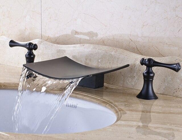 Massief messing olie gewreven brons badkamer wastafel kraan dubbele