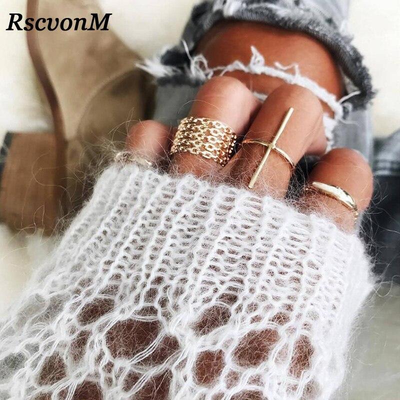 RscvonM Brief 7pcs/set New Fashion Trendy Jewelry Cross Finger Ring Set Gift For Women Girl New Punk Cuff Finger Ring Set