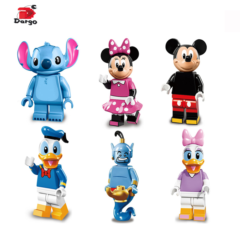 цена на Super Heroes Cartoon figure Assemble Mickey Minnie Mouse Don Donald Duck Daisy Stitch Aladdin Bricks Gift Toys