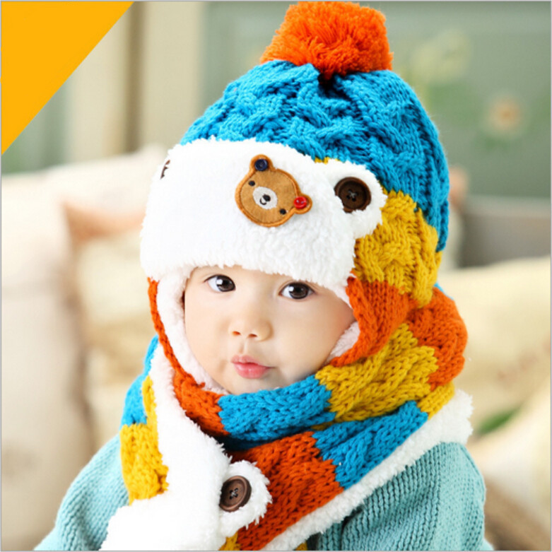 cb070ea50f91 2018 baby cute bear design winter hat and scarf set infant knit ...