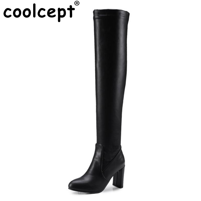 Coolcept Size 32-48 Women High Heel Boots Plush Fur Shoes Women Winter Boots Over Knee Boots Long Knight Botas Women Footwears thigh high over the knee snow boots womens winter warm fur shoes women solid color casual waterproof non slip plush wedges botas