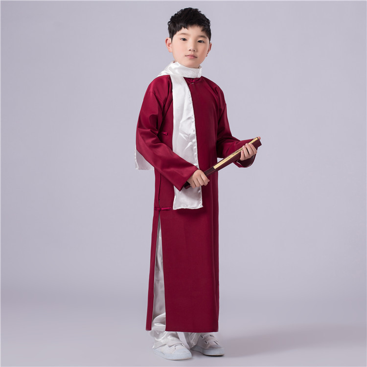 5 Colors Chinese Boy Ancient Costume Children Traditional Costume 120cm-160cm Kids Raope With Scarf Republic Of China Clothes 16