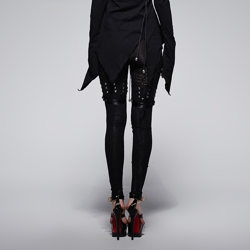Rave Moulant Lolita Femmes Noir Rivet Leggings Punk Sexy Pantalon Steampunk Gothique Metal Rock Heavy WdCxorBe