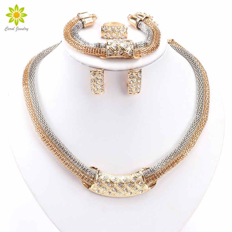 סטי תכשיטי חרוזים אפריקאים האופנה קריסטל עגילי שרשרת אביזרי שמלת חתונה תליון צבע זהב קלאסי