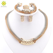 African Beads Jewelry Sets Dress Accessories Fashion Crystal Earrings Necklace Gold Color Classic Pendant Wedding