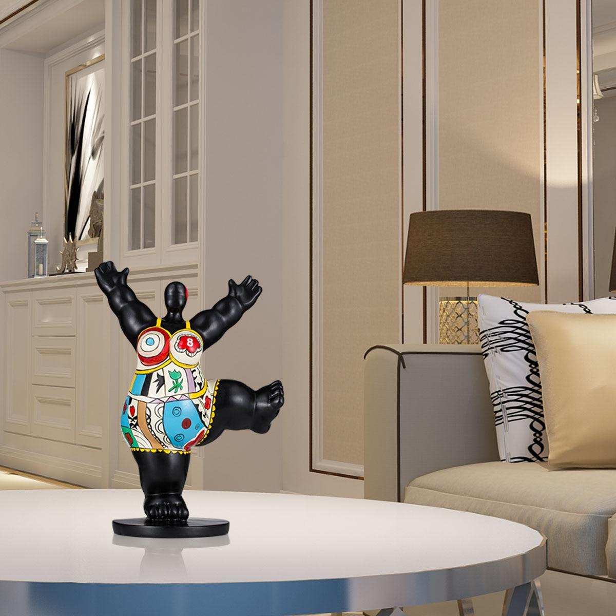Energetic Gym Fat Woman Fiberglass Sculpture Exaggerative Modeling Home Tabletop Room Book Shelf Decorativee Ornament Sculpture