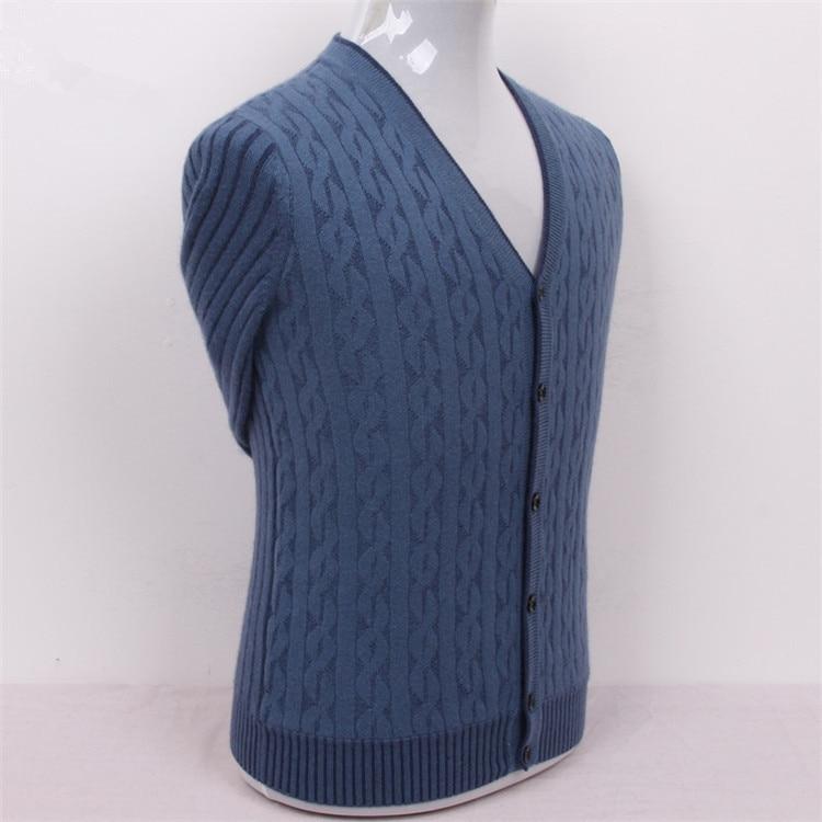 100% chèvre cachemire fil tricot hommes mode col en v h-droit épais cardigan chandail gris foncé 2 couleur S/3XL