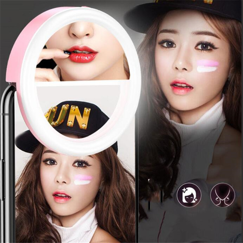 Universal Selfie LED Fill Ring Flash Light Portable Smart Mobile Phone Selfie Lamp Luminous Ring Clip Makeup mirror holder 2*AAA