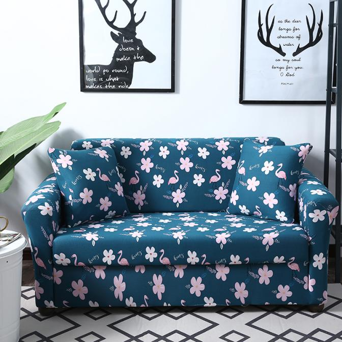 Casual Pastoral Home Couch Set Floral Pattern Elastic Bule Cushion Cover All-inclusive Slip-resistant Furniture Slipcovers