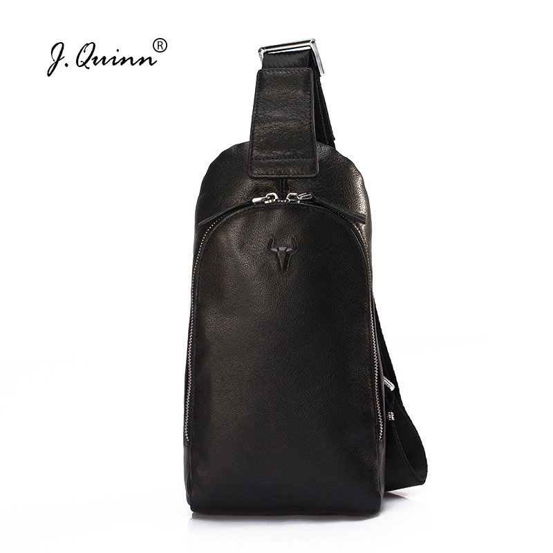 J.Quinn Men Leather Sling Bag Fashion Chest Bags Man Genuine Cowhide Leather Crossbody Bag Casual Shoulder Strap Chest Pack 2018