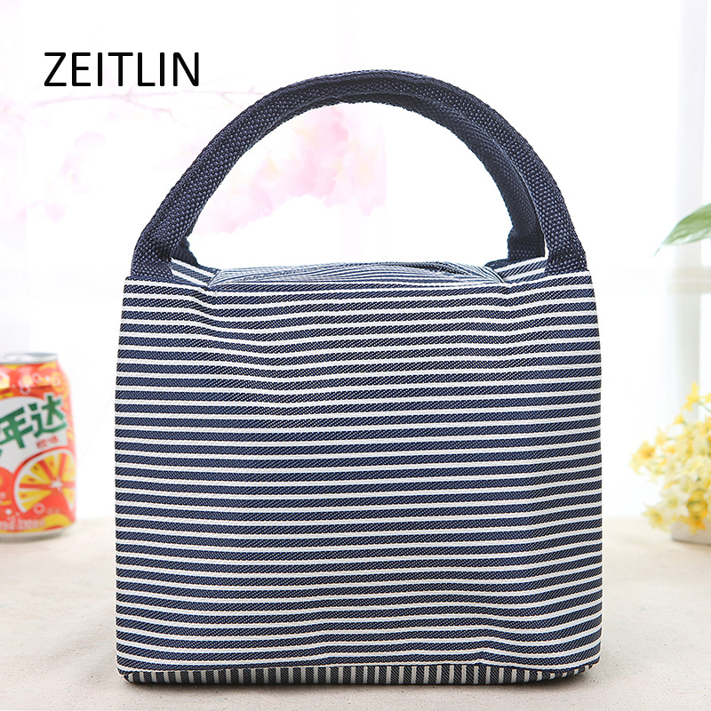 Striped portable lunch bag large capacity picnic zipper lunch box bag folding waterproof insulation package S043 striped tote lunch bag