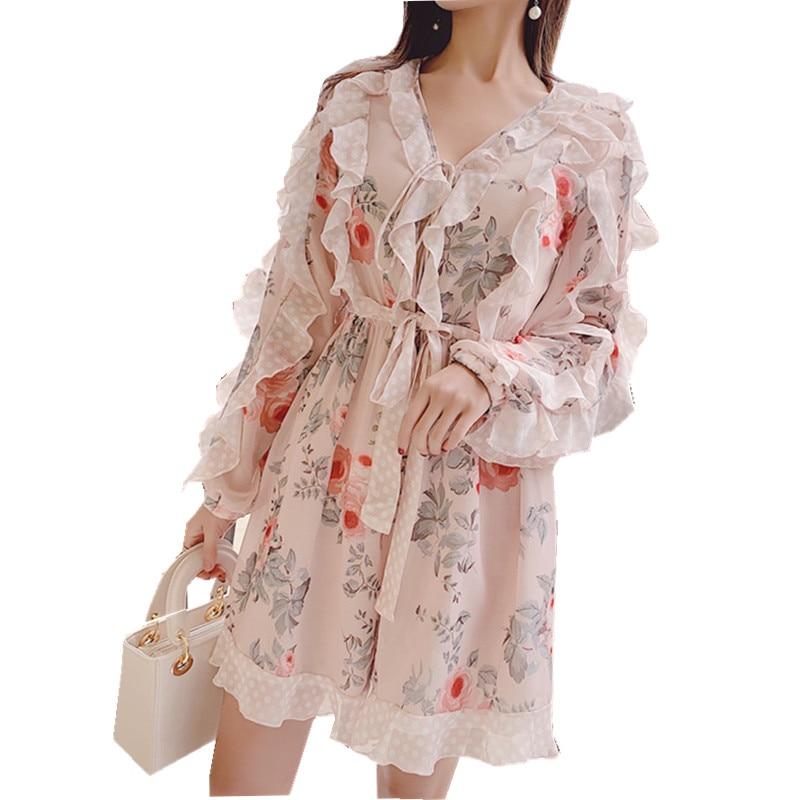 HAMALIEL 2019 Spring Women Boho Playsuits Boho Runway Chiffon Printed Floral Ruffles Jumpsuit Fashion V Neck Wide Leg Playsuits