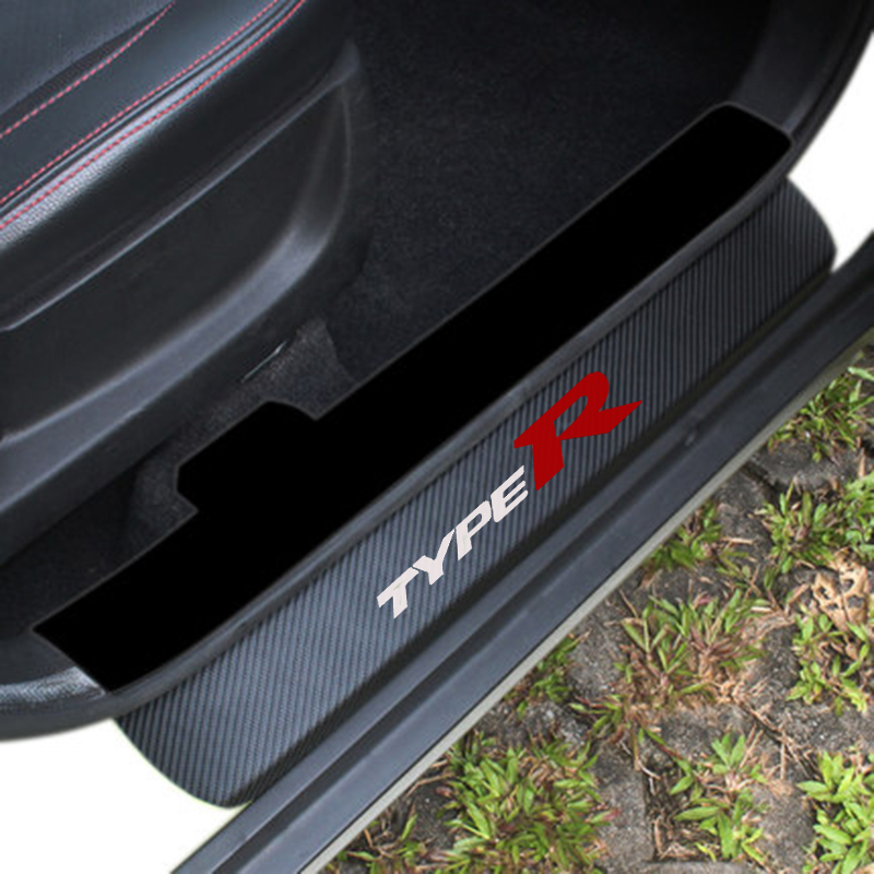 Carbon Fiber Door Sill Scuff Plate Guards Sills Type R For Honda Civic Accord Fit City Crv Hrv