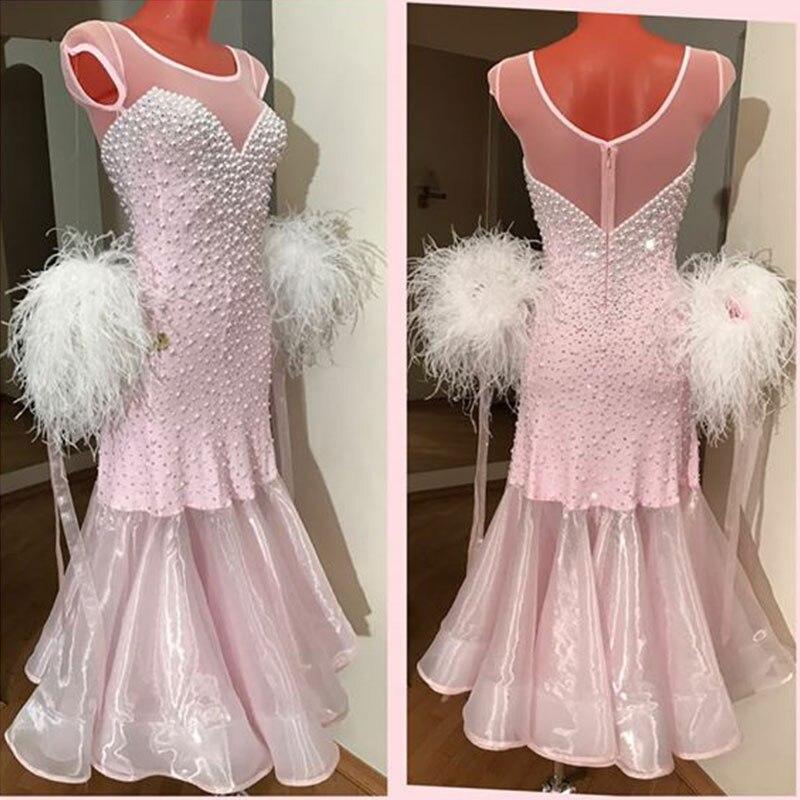 f1cb972751b2 Ballroom Dancing Dress Woman Modern Waltz Tango Bead feather white Dance  Dress standard Ballroom Competition Costume