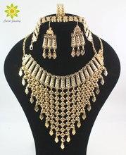 2020 nowy projekt Dubai złoty kolor moda akcesoria ślubne kostium naszyjnik zestaw biżuteria do strojów afrykańskich zestawy
