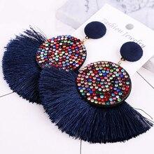 New Tassel Drop Earrings Bohemian Women Fashion Luxury Long Colorful Earring Rhinestone Ethnic Crystal Round Harajuke