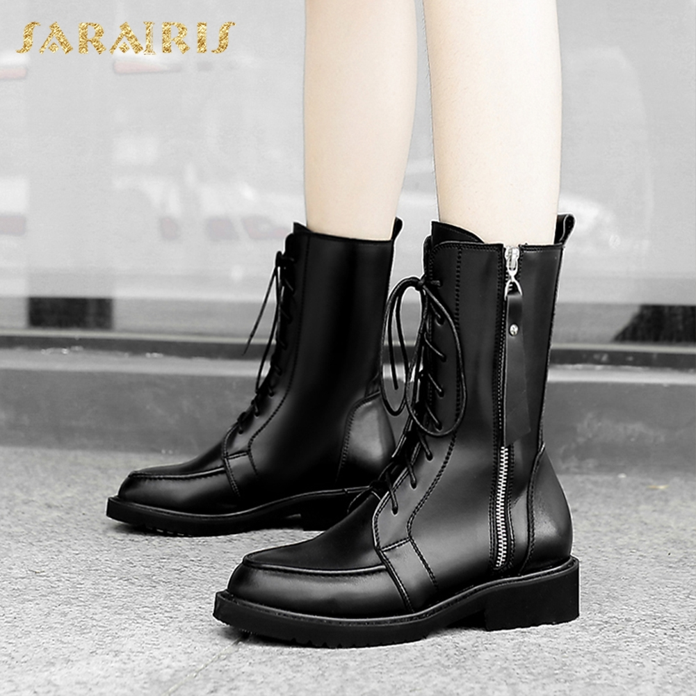 SARAIRIS 2018 Genuine Leather Plus Size 34-42 Cow Leather Zip Up Chunky Heels Shoes Woman Mid Calf Boots Woman Shoes doratasia 2018 genuine leather zip up cow leather shoes woman martin boots chunky heels wholesale mid calf boots woman shoes