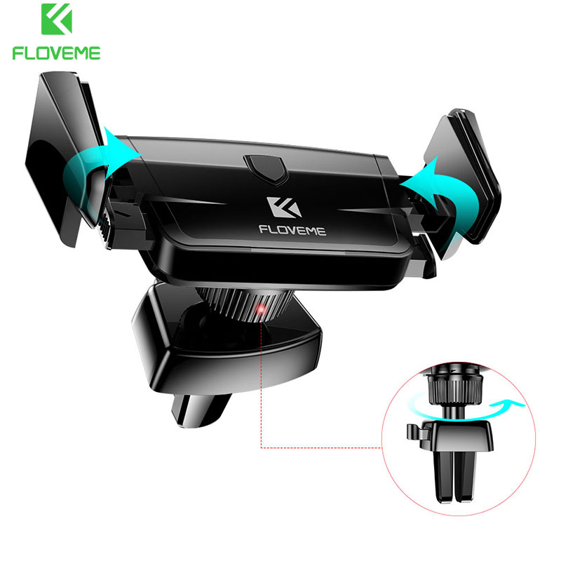 FLOVEME 360 Rotatable Car Mobile Phone Holder GPS Navigation Automatically Lock Air Vent Mount Car Holder Stand Bracket Support
