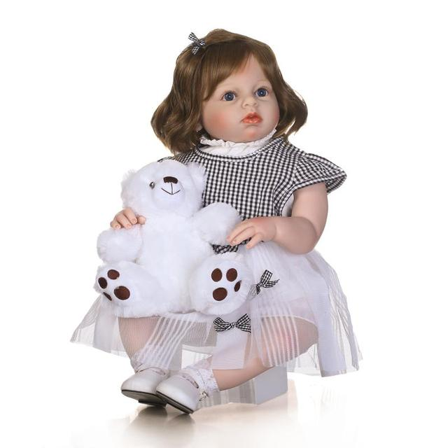 c315b195ec3 70cm Silicone Reborn Baby Girl Doll Toy lifelike Birthday Gift 28inch  Princess Toddler Babies Doll Toy With Bear Clothing Model