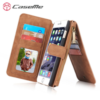 For Apple IPhone 6 6s Plus Retro Quality Leather Case Zipper Wallet Card Multifunction Magnetic Phone