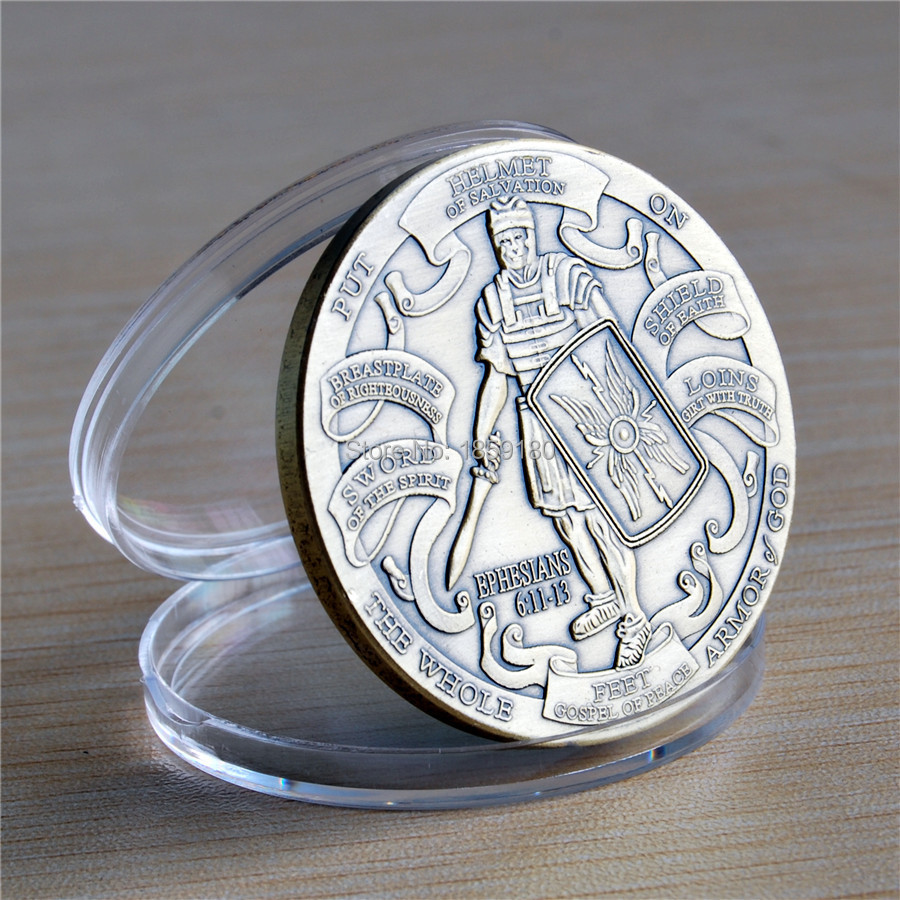 100 개/몫 DHL 무료 배송 높은 기복 에베소서 6:10 12 청동 도전 동전-에서비통화코인부터 홈 & 가든 의  그룹 3