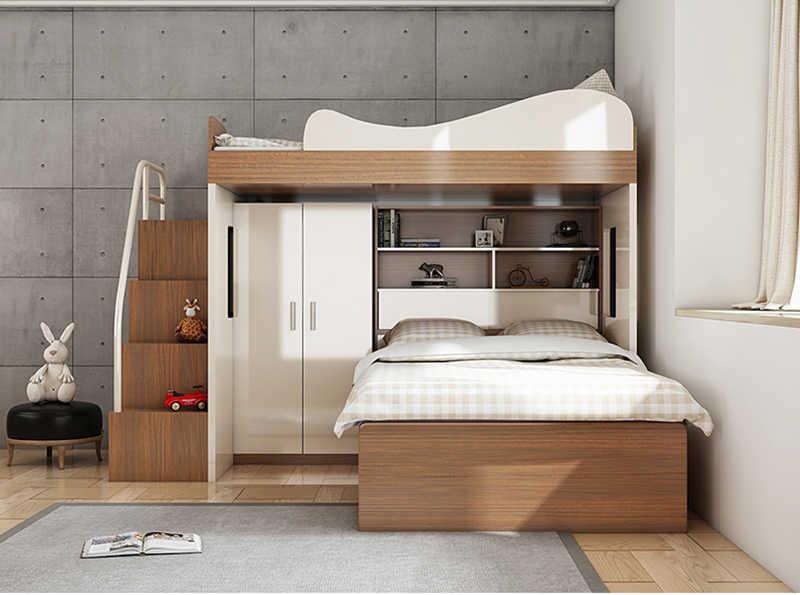 CBMMART children mdf bunk bed with wardrobe, desk, storage ...