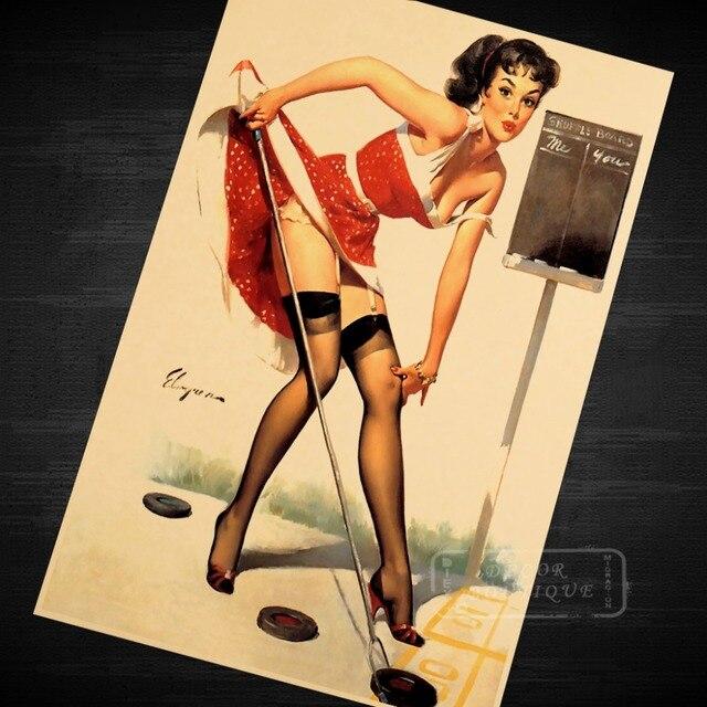 Sexy Golf Girl Pop Art Pin Up Vintage Poster Classic Retro Kraft ...